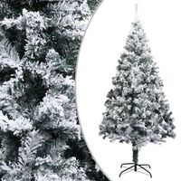 vidaXL Artificial Christmas Tree with Flocked Snow Green 180 cm PVC