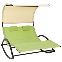 vidaXL Double Sun Lounger with Canopy Textilene Green and Cream