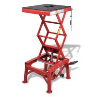 Red Motorcycle Lift 150 kg with Foot Pad, Locking Bar, Release Valve