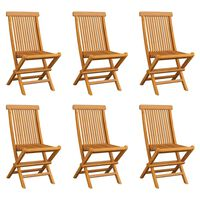 vidaXL Folding Garden Chairs 6 pcs Solid Teak Wood