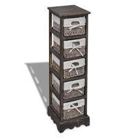 vidaXL Wooden Storage Rack 5 Weaving Baskets Brown