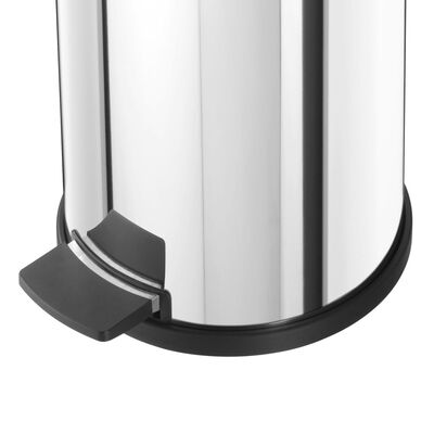 Hailo Pedal Bin Solid M 12L Stainless Steel with Galvanized Inner Bin