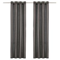 vidaXL Curtains with Metal Rings 2 pcs Cotton 140x175 cm Anthracite