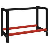 vidaXL Work Bench Frame Metal 120x57x79 cm Black and Red