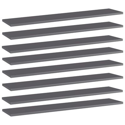 vidaXL Bookshelf Boards 8 pcs High Gloss Grey 100x20x1.5 cm Chipboard