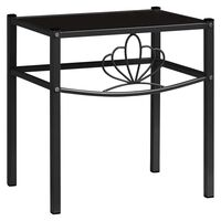vidaXL Bedside Cabinet Black 42.5x33x44.5 cm Metal and Glass