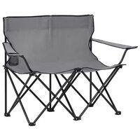 vidaXL 2-Seater Foldable Camping Chair Steel and Fabric Grey