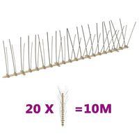 vidaXL 4-row Plastic Bird & Pigeon Spikes Set of 20 10 m