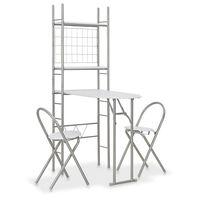 vidaXL 3 Piece Folding Dining Set with Storage Rack MDF and Steel White