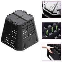 vidaXL Garden Composter Black 93.3x93.3x80 cm 480 L