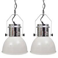 vidaXL Ceiling Lamp 2 pcs Height-adjustable Modern White Metal