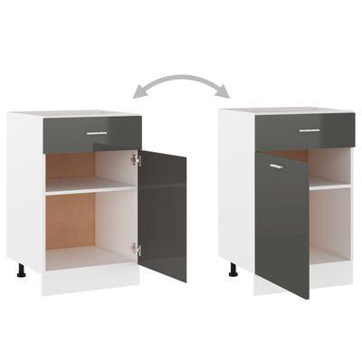vidaXL Drawer Bottom Cabinet High Gloss Grey 50x46x81.5 cm Chipboard