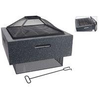 ProGarden Fire Bowl with BBQ Rack Square Dark Grey 52.5x52.5x18.5 cm