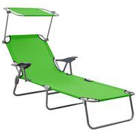 vidaXL Sun Lounger with Canopy Steel Green