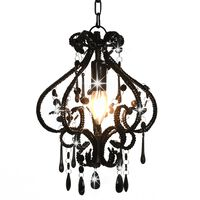 vidaXL Ceiling Lamp with Beads Black Round E14