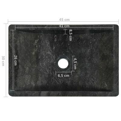 vidaXL Bathroom Vanity Cabinet Solid Teak with Sinks Marble Black