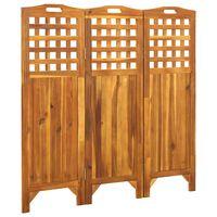 vidaXL 3-Panel Room Divider 121x2x120 cm Solid Acacia Wood