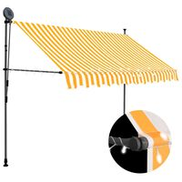 vidaXL Manual Retractable Awning with LED 250 cm White and Orange