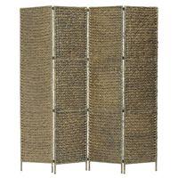 vidaXL 4-Panel Room Divider Brown 154x160 cm Water Hyacinth