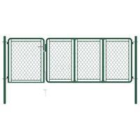vidaXL Garden Gate Steel 75x350 cm Green