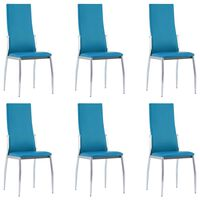 vidaXL Dining Chairs 6 pcs Blue Faux Leather