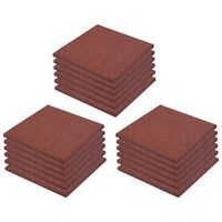 vidaXL Fall Protection Tiles 18 pcs Rubber 50x50x3 cm Red