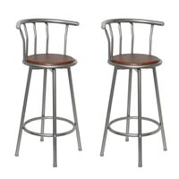 vidaXL Bar Stools 2 pcs Brown Steel