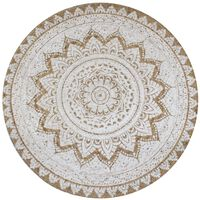 vidaXL Area Rug Braided Jute Printed 90 cm Round