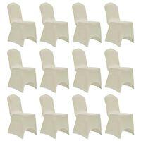 vidaXL Chair Cover Stretch Cream 12 pcs