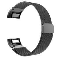 Stainless Steel Milanese Metal Wristband for Fitbit Charge 2 -  Black