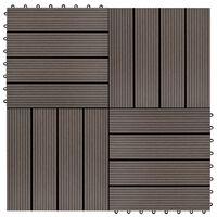 vidaXL 11 pcs Decking Tiles WPC 30x30 cm 1 sqm Dark Brown