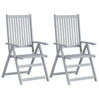 vidaXL Garden Reclining Chairs 2 pcs Grey Solid Acacia Wood
