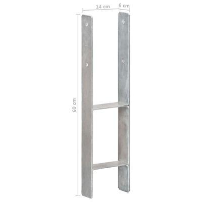vidaXL Fence Anchors 2 pcs Silver 14x6x60 cm Galvanised Steel,