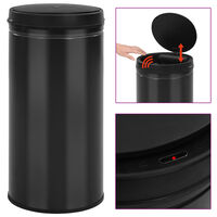 vidaXL Automatic Sensor Dustbin 70 L Carbon Steel Black