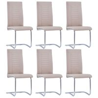 vidaXL Cantilever Dining Chairs 6 pcs Cappuccino Faux Leather