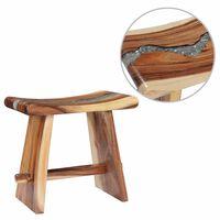 vidaXL Stool Solid Suar Wood and Polyresin