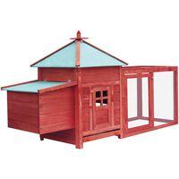 vidaXL Chicken Coop with Nest Box Red 193x68x104 cm Solid Firwood