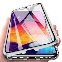 Cás Maighnéadach Samsung Galaxy A70 Le Cosantóir Scáileáin - Airgead