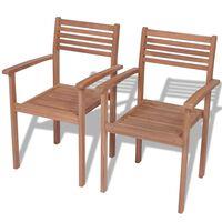 vidaXL Stackable Garden Chairs 2 pcs Solid Teak Wood