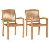 vidaXL Stacking Garden Dining Chairs 2 pcs Solid Teak Wood