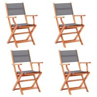 vidaXL Folding Garden Chairs 4 pcs Grey Solid Eucalyptus Wood and Textilene