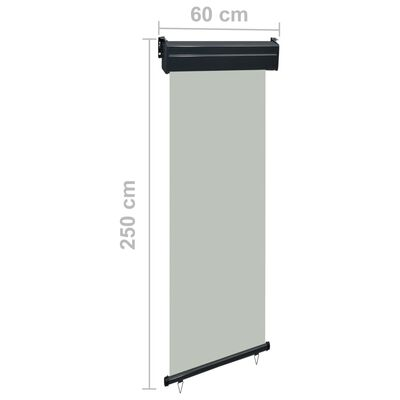 vidaXL Balcony Side Awning 60x250 cm Grey