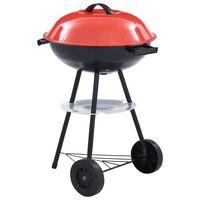 vidaXL Portable XXL Charcoal Kettle BBQ Grill with Wheels 44 cm