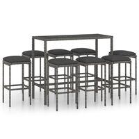 vidaXL 9 Piece Garden Bar Set with Cushions Poly Rattan Grey