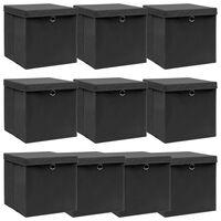 vidaXL Storage Boxes with Lid 10 pcs Black 32x32x32 cm Fabric