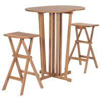 vidaXL 3 Piece Folding Bar Set Solid Teak Wood
