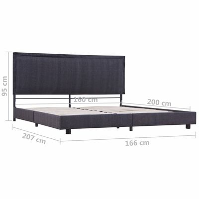 vidaXL Bed Frame Dark Grey Fabric 150x200 cm