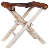 vidaXL Folding Stool Real Leather and Solid Teak Wood