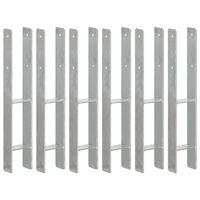vidaXL Fence Anchors 6 pcs Silver 9x6x60 cm Galvanised Steel