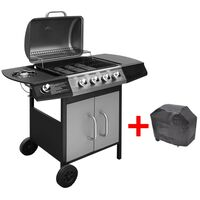 vidaXL Gas Barbecue Grill 4+1 Cooking Zone Black and Silver